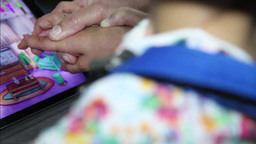 help children with mental disabilities to make therapy with tablet mental games Footage