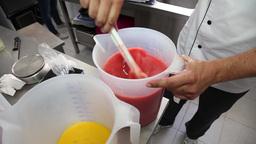 preparing mixing strawberry ice cream ready for ice cream machine Footage