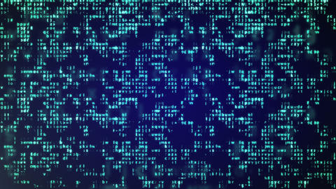 Abstract Blue Technology Background. Binary Computer Code Animation
