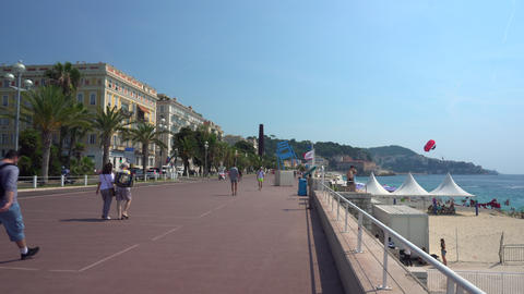 Promenade des Anglais in Nice France Live Action
