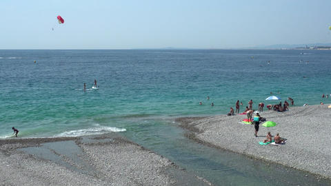 Beach an blue water in Nice in France Live Action