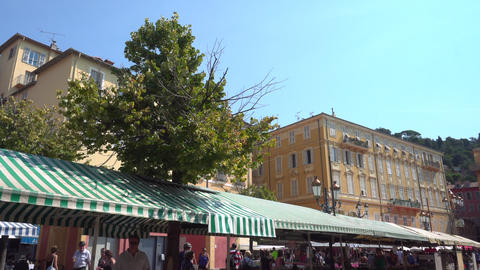 Blue sky and Nice Market in France Live Action