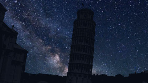 night time lapse of the Pisa tower, Italy Footage