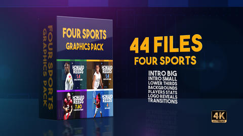 Four Sports Graphics Pack After Effects Template