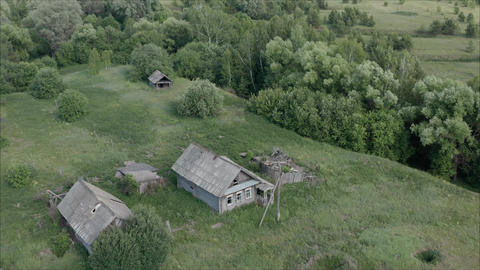 Abandoned village in Russia. The old village is destroyed. Old abandoned village Footage
