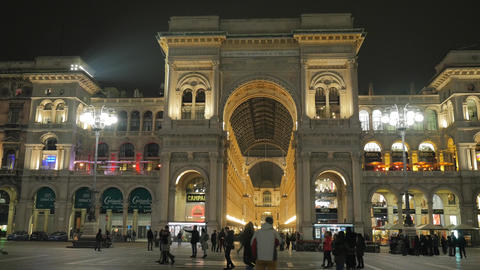 Amazing view of Vittorio Emanuele II Gallery called Milan's drawing room, Italy Footage