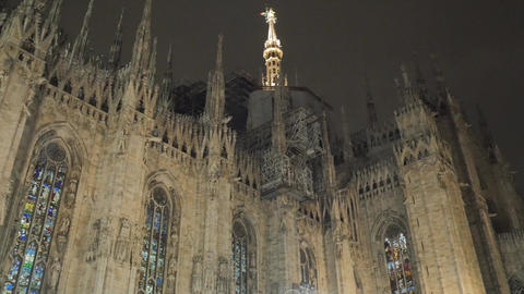 Beautiful ancient gothic Cathedral Church of Milan in Lombardy, northern Italy Footage