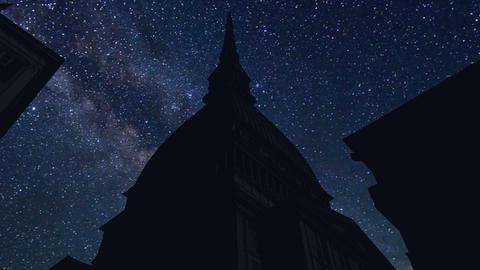 night time lapse, Mole Antonelliana Turin Footage