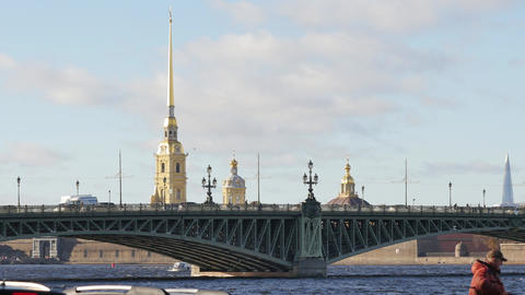 Spectacular view of beautiful Trinity Bridge and famous Peter and Paul fortress Footage