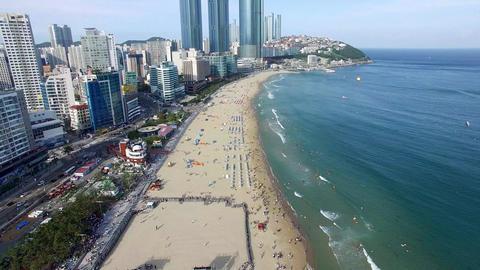 Aerial View of Sunny Summer Haeundae Beach, Busan, South Korea, Asia Footage