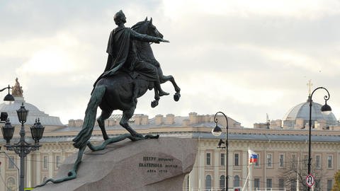 Monument of Russian emperor Peter the Great, known as Bronze or Copper Horseman Footage