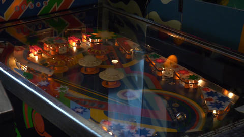 Closeup view of working classic table pinball in museum of old slot-machines Footage