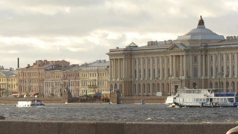 Wonderful scenery of beautiful Neva river and famous... Stock Video Footage