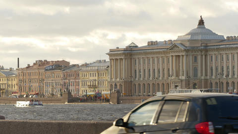 Wonderful scenery of beautiful Neva river and famous Russian Academy of Arts Footage