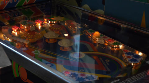 View of functioning classic table pinball in museum of old slot-machines Footage