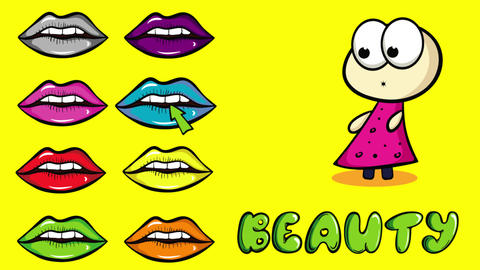 Lips colorful and beauty yellow Animation