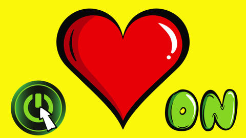 Heart with on button yellow Animation