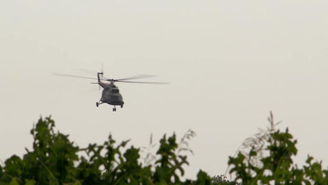 Military helicopter flying over the trees, military aircraft Live Action