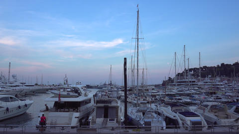 Yachts in the evening in Monaco Footage