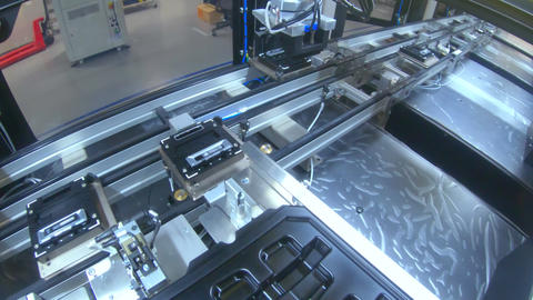 Advanced robots placing parts in an automated assembly line Footage