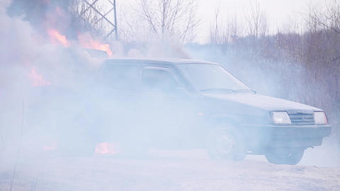 Dirty old car is left on deserted dust road with open... Stock Video Footage