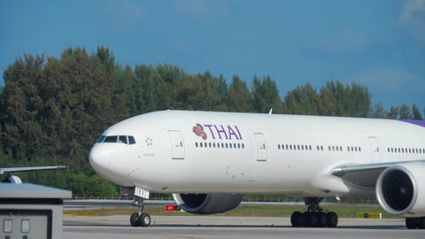 Boeing 777 taxiing at Phuket airport Footage