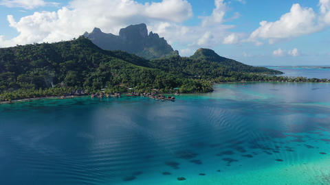 Travel vacation aerial drone video of Bora Bora paradise and overwater bungalows Footage