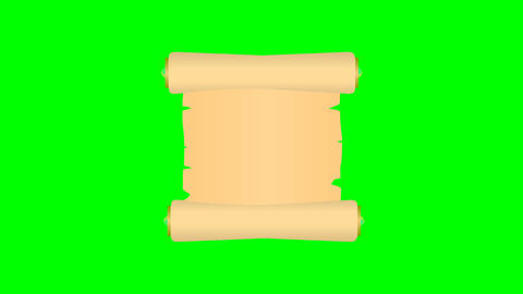 Animated scroll rolls out and in isolated on a green screen Footage