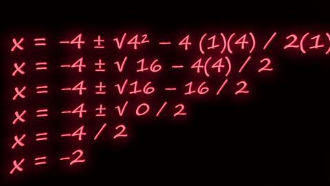 Erratic movement Quadratic Formula example equation neon on blackboard Footage