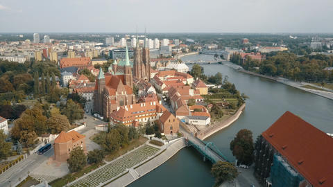 Aerial view of Cathedral Island in Wroclaw, Poland. Aerial View of Wroclaw Live Action
