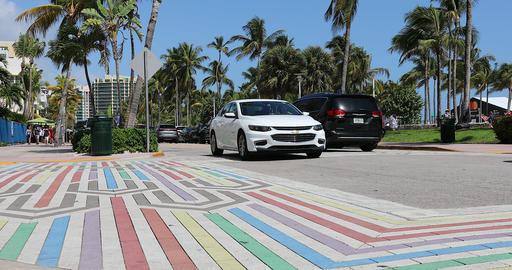 Rainbow LGBTQ Crosswalk In South Beach Miami GIF