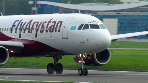 Fly Arystan Airbus A320 accelerate before departure Footage