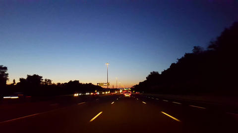 Driving City Highway During the Evening. Driver Point of... Stock Video Footage
