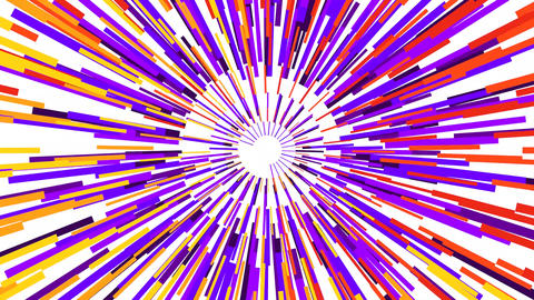 Background of rectangles of yellow, orange, blue and purple arranged in a concentric form, leaving Animation
