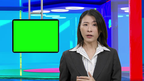 Virtual TV studio with female anchor suspended green screen 19 Footage