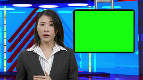Virtual TV studio with female anchor suspended green screen23 Live影片