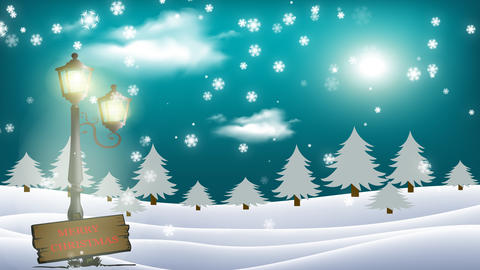 Merry Christmas - Animated Christmas Card with shining moon and beautiful clouds and snowflakes Animation