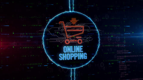 Shopping cart hologram in electric circle Animation