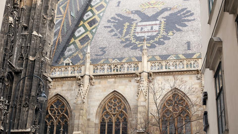 view on the roof of the Vienna Cathedral Footage