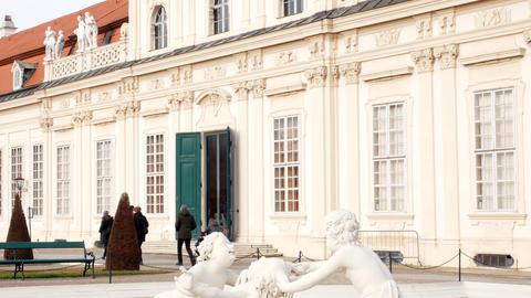 Fountain with cherubs at Belvedere Vienna, Austria Footage