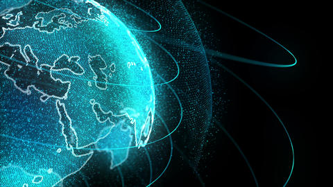 Looped Rotation of Digital Holographic Earth Globe GIF