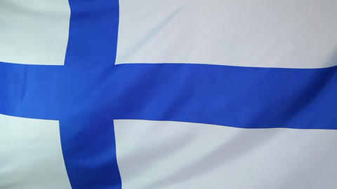 National flag of Finland starts to move in the wind Footage
