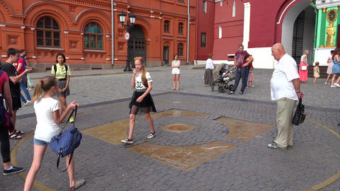 Sign zero kilometer. Moscow Red Square. 4K Footage