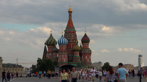 St. Basil's Cathedral on Red Square. Moscow. 4K Footage