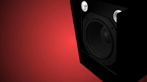 Closeup at moving sub-woofer. Speaker part Animation