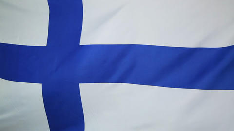Textile flag of Finland in slow motion Footage