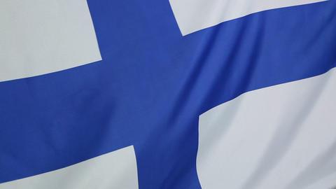 Closeup of a Finnish flag Footage
