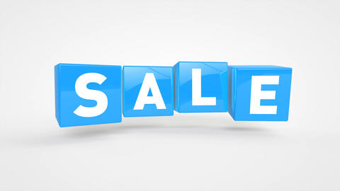 Looping flying blue cubes with text SALE Animation
