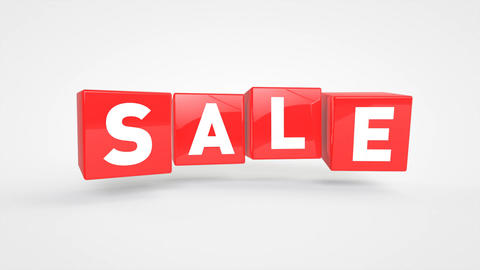 Looping flying red cubes with text SALE Animation