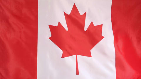 Textile flag of Canada in slow motion Footage